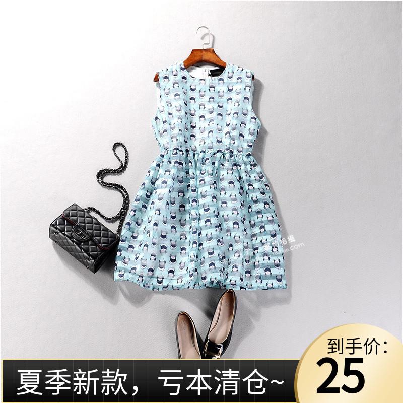 18897 圆领无袖高腰人物印花中长款欧根纱裙子甜美清新连衣裙