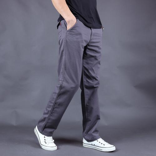秋季新款男士宽松直筒休闲长裤青年简约纯棉时尚潮流工装水洗裤子