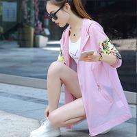 防晒衣女2019夏季新款韩版印花中长款连帽防晒外套轻薄长袖沙滩服
