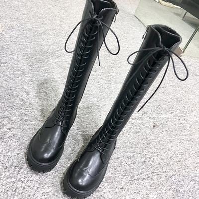 靴子女冬2018新款不过膝长靴女网红瘦瘦靴绑带中筒长筒靴骑士靴