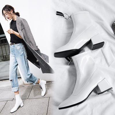 高跟女靴秋冬白色