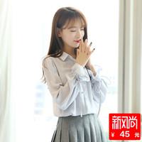 2018春装新款灯笼袖白色雪纺衬衫女长袖韩版宽松喇叭袖小清新上衣