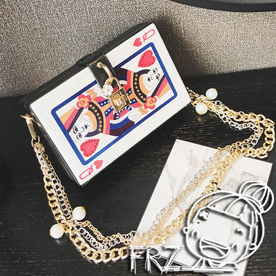 韩版创意扑克牌斜挎包原宿风小方包时尚盒子包个性链条女包小包包