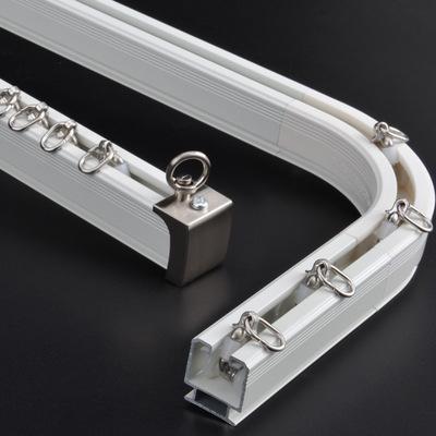 窗帘杆窗帘轨道顶装直轨单双轨静音铝合金阳台可弯曲导轨弯轨安装