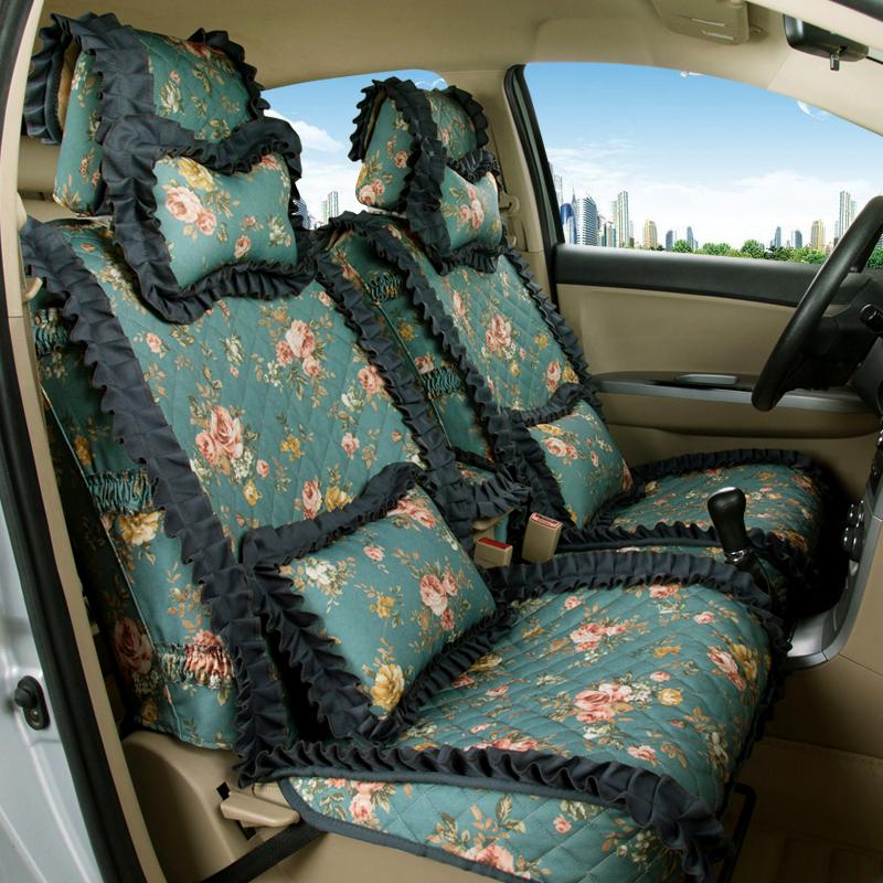 女神款汽車坐墊女士時尚布藝透氣座套印花全包圍四季通用蕾絲座墊