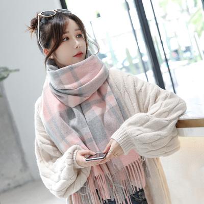 羊毛格子围巾女秋冬季韩版百搭超大加厚长款披肩羊绒围脖两用冬天