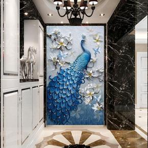 现代简约墙纸壁画3d立体浮雕孔雀玄关背景墙装饰画5d走廊过道壁纸