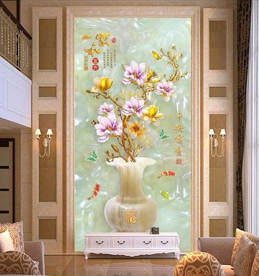 3D立体壁画 家和玉雕玄关壁纸花瓶过道走廊电视背景墙纸无缝墙布年中大促