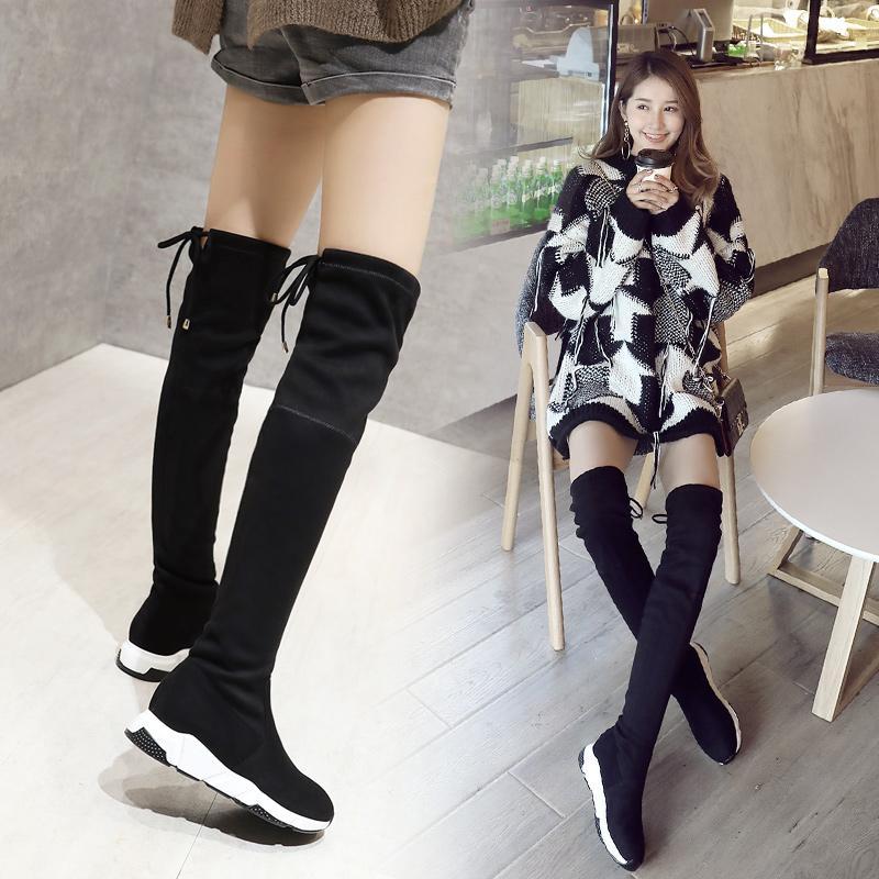 洛百丽专柜正品过膝长靴女秋冬2018黑色长筒靴子显瘦弹力高筒靴平