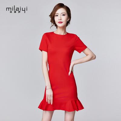 米莱伊2017夏季新款女连衣裙韩版时尚短袖修身针织大红色鱼尾裙子