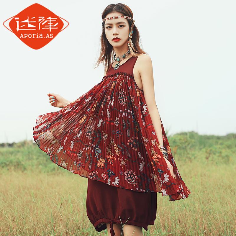 波西米亚褶皱裙