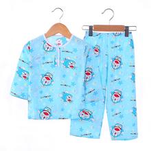 夏季儿童睡衣棉绸男童女童宝宝套装男孩绵绸薄款小孩子夏天空调服