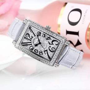 摩邦陀正品時尚潮流滿鉆石英表數字刻度水鉆腕表學生表女手表皮帶
