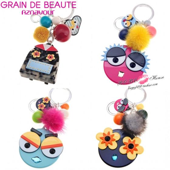 韩国正品代购aznavour新款可爱毛球搞怪表情脸谱包包挂件钥匙扣