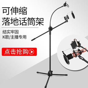 QT 电容麦克风支架落地式话筒支架金属三脚架专业舞台K歌麦伸缩架