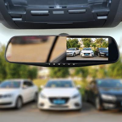 凌洋汽车载后视镜款行车记录仪前后双录镜头高清夜视电子狗一体机