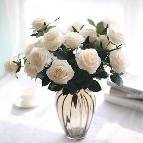 欧式假花仿真花束玫瑰花束摆件绣球干花艺客厅装饰餐桌花艺绢花卉