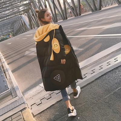 bf外套女冬学院风高中学生韩版中长款羽绒棉服宽松加厚可爱冬外套