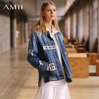 Amii极简日系chic时尚牛仔外套女2018冬宽松做旧磨破全棉休闲夹克