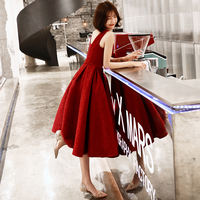 Toast clothing bride 2019 spring and summer models red modern thin and thin can usually wear a small wedding evening dress skirt female