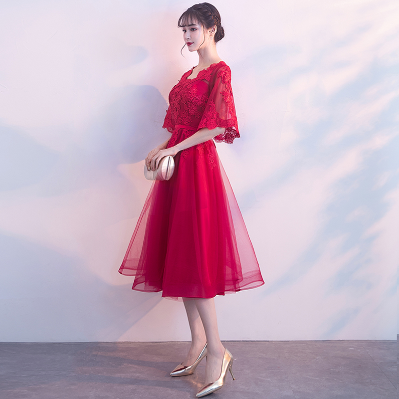 結婚禮服紅色中長款