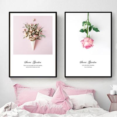 客厅沙发背景墙装饰画北欧风ins简约小清新卧室床头温馨粉色挂画品牌排行