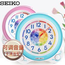 日本精工时钟新品 seiko 卡通心爱卧室可调音量儿童认时石英闹钟