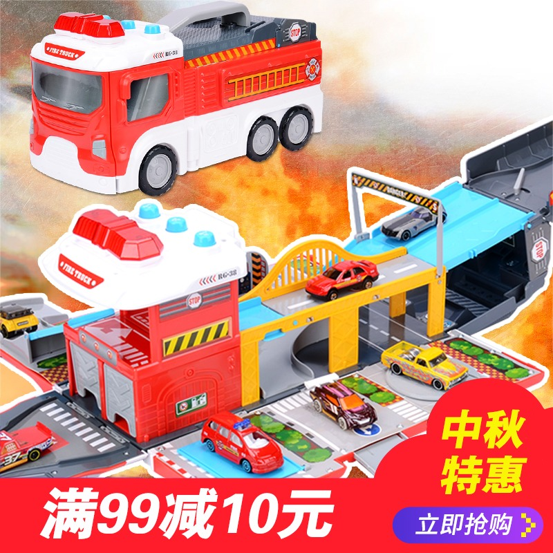Large deformation fire truck compatible with hot wheels alloy car storage parking garage sets