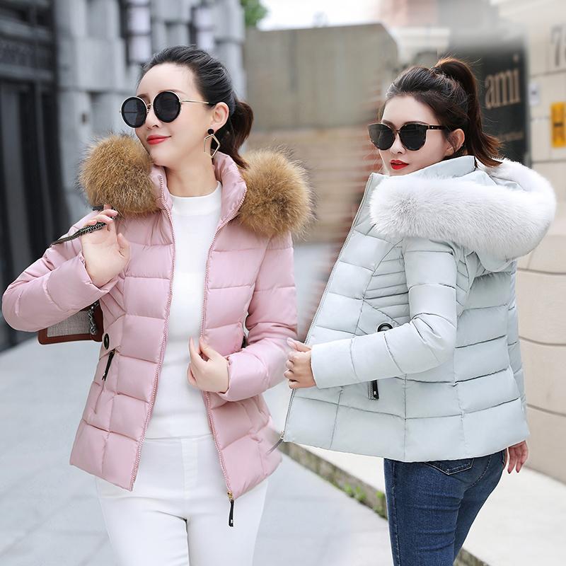 大码短款棉衣女2018冬季大毛领韩版修身羽绒棉服外套学生小棉袄潮
