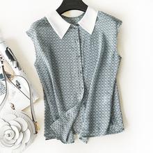 真的是时髦又减龄~手工包扣 小尖领 不规则格子无袖雪纺衬衫 女夏
