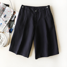 Another cattle in summer is cool, comfortable and breathable. Loose edition of high waist A wide legged shorts. Pure color five-point pants for women