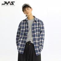 江南先生春夏新品 潮牌格子后字母印花潮男长袖衬衫日韩衬衣外套