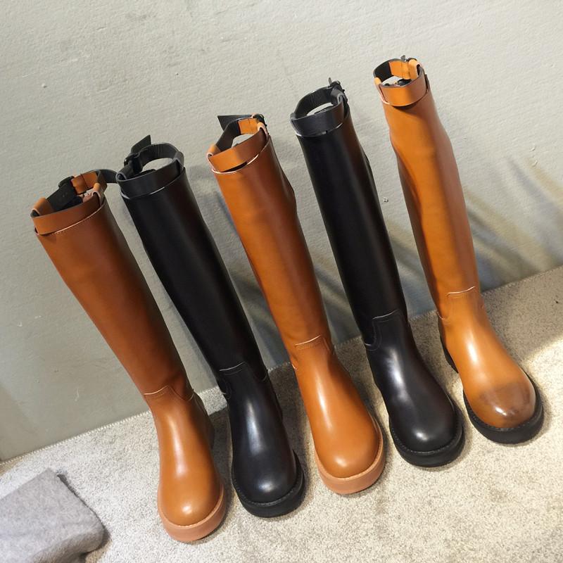 高筒靴女2019秋冬新款欧美真皮平底骑士靴军靴马靴厚底长靴女靴子