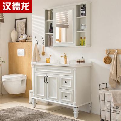 美式卫浴浴室柜组合落地式洗脸洗手面盆池洗漱台盆卫生间仿古镜柜