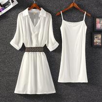 收腰显瘦时尚连衣裙2018夏季新款百搭雪纺裙子两件套气质女式套装