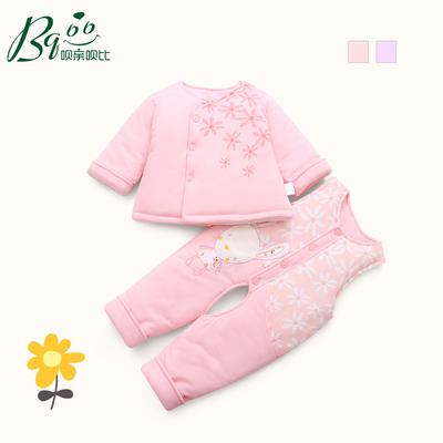 冬季婴儿棉衣背带裤加厚0-1岁女宝宝冬装套装幼儿童衣服冬天棉袄