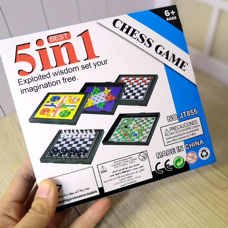 Children's desktop educational toys portable five-in-one game chess flying chess checkers international elephant