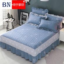 倍宁全棉床裙夹棉床罩单件纯棉加棉床套床盖1.5m1.8米厚韩版床单