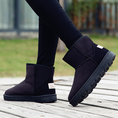 鞋子女冬季加绒雪地靴女短筒韩版靴子2017新款保暖懒人棉鞋学生