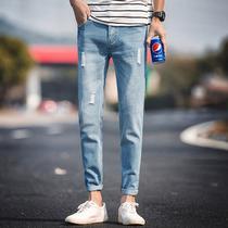 夏季薄款黑色九分牛仔裤男士韩版修身小脚裤潮男装休闲弹力男裤子