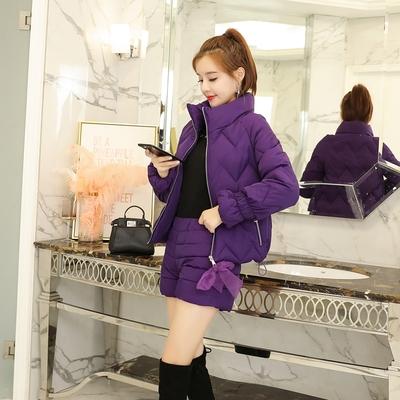 冬天套装棉服女2018韩版时尚短款棉衣小香风两件套羽绒棉袄外套显