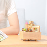 Creative music box wooden crafts birthday gift castle small train rotating eight-tone box home ornaments