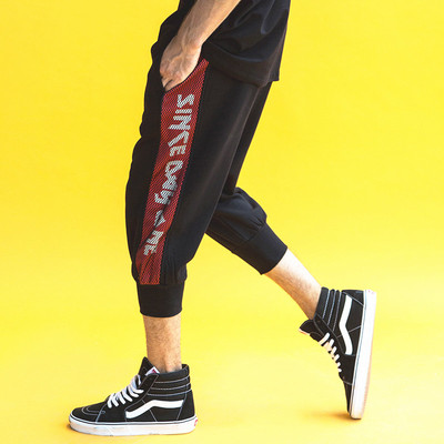 大码裤子男加肥加大码运动7分裤潮流胖子短裤嘻哈休闲中裤男宽松