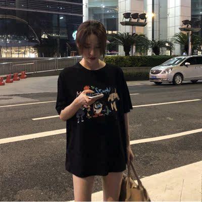 韩版夏季宽松显瘦圆领短袖卡通字母印花套头打底衫T恤学生tee上衣