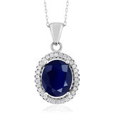 GSK6.4 Carat Natural Sapphire Pendant 925 Sterling Silver Colored Gemstone Necklace Fashion Elegant Clavicle Chain Female