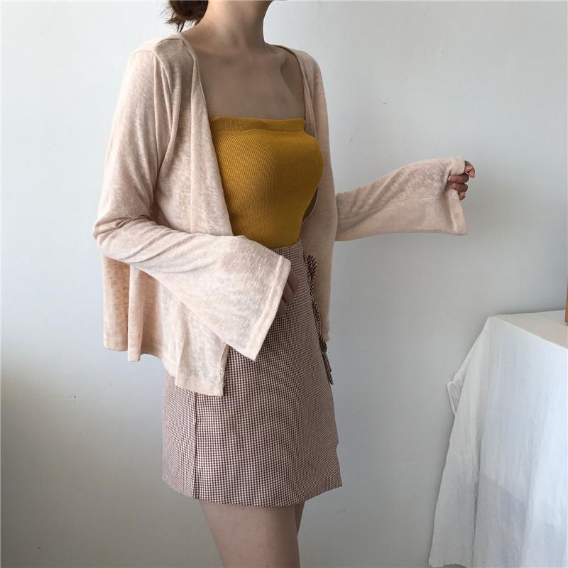 防晒衣女外套薄款宽松V领外搭针织开衫夏季ins洋气仙女微透空调衫