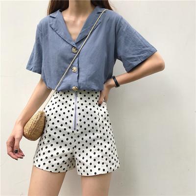 夏韩版时尚套装女复古翻领纽扣短袖衬衫+波点高腰休闲短裤两件套