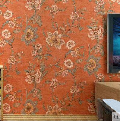 【诺堡壁纸】欧美纯纸复古美式乡村温馨田园橙色大花客厅卧室墙纸双十二