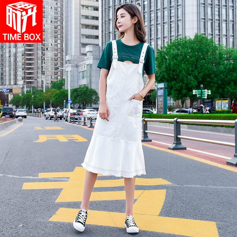 韩版长款背带长裙