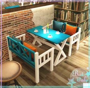 地中海仿古做旧全实木餐桌高档欧美式咖啡厅餐桌餐椅长椅长凳定制